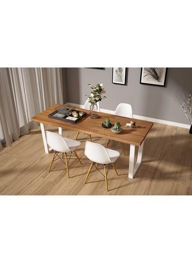 Woodesk Hayal Masif Tik Renk 150x80 Sandalyeli Masa Takımı CPT7324-150 Beyaz